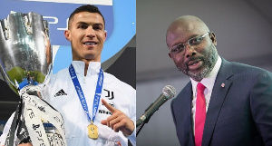 Cristiano Ronaldo and President of Liberia George Weah