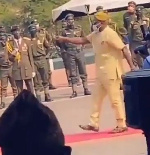 Bamidele Oleyelogun mimic soldiers at Armed Forces Remembrance Day