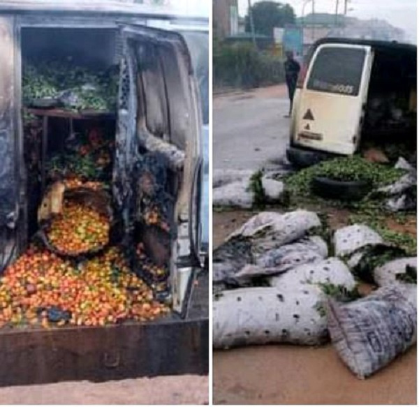 Bus containing food items razed by hoodlums