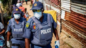 South African Police officers on face masks